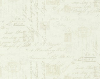 Bone Script Fabric Yardage. Wilderness-Timeless Treasures-Script and Postage Stamp Fabric-Script Quilt Fabric-Postage Fabric-Script Material