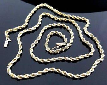 "Stunning Solid 14 Karat Yellow Gold 3.15mm Diamond Cut 24"" Rope Necklace #V15."