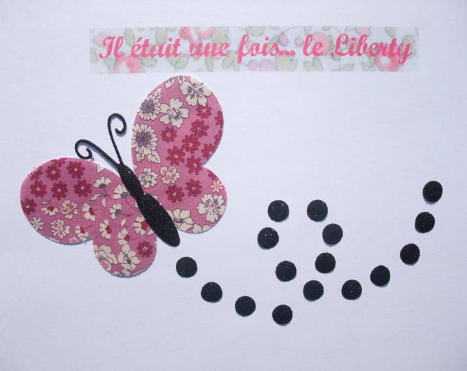 Applied fusible liberty Butterfly pink Lecien fabric and flex glitter patch pattern iron-on fusible badge liberty Butterfly