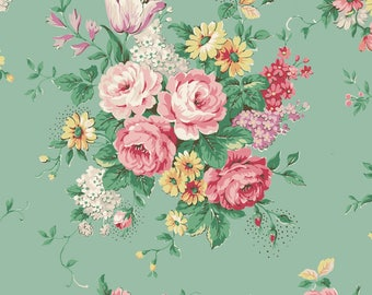 Quilt Gate USA Ruru Bouquet English Rose Garden Collection   English Rose Garden   # RU2310-11C Green