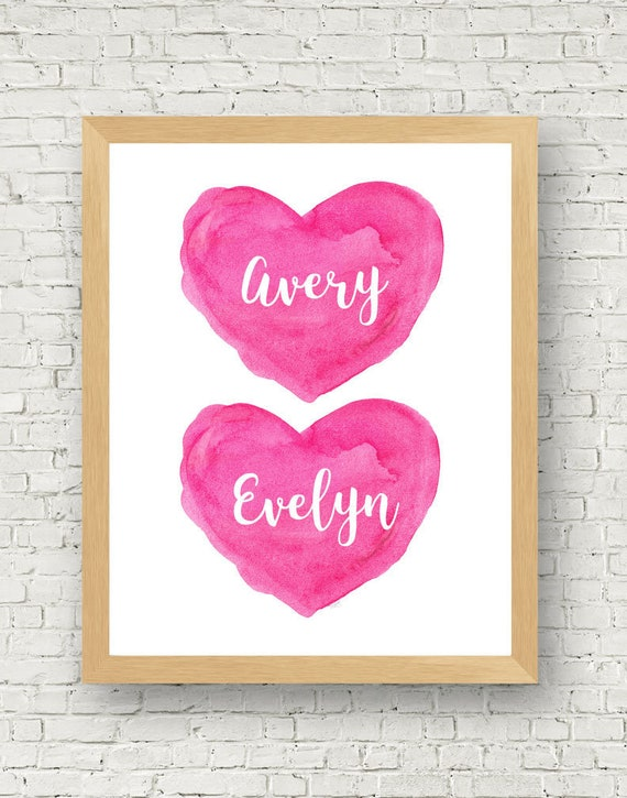 Hot Pink Wall Decor for Sisters, 8x10 Personalized Heart Print