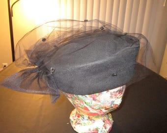 Vintage 1960 Black Wool Pill Box Hat Netting Bow