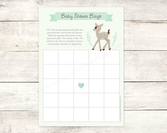 baby shower bingo game card printable DIY deer green woodland animals cute gender neutral digital shower games - INSTANT DOWNLOAD