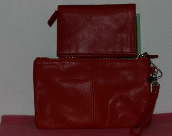 Genuine red leather ladies wallet  and red leather clutch
