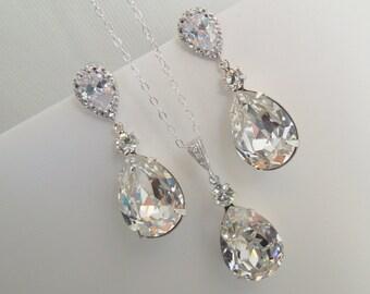 Wedding Jewelry set swarovski Crystal Bridal Necklace and Earrings Set Crystal Wedding Necklace and Earrings swarovski crystal set ARIA
