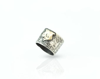 COAT of ARMS VINTAGE   Sterling Silver ring with 9ct Gold (Free shipping worldwide)