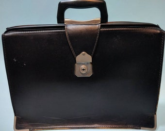 Vintage 1950s Black Doctor's / Gladstone Bag by CHENEY, Made in England