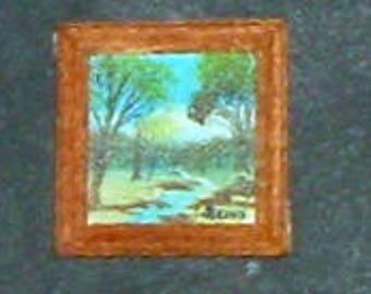 Miniature WINTER STREAM Oil Painting - Framed (Marilyn Stevens)