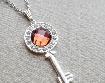 75% Off Sale Persimmon Faceted Glass Key Necklace