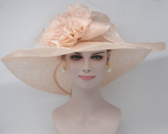 Peach /Apriot Kentucky Derby Hat, Church Hat, Wedding Hat, Easter Hat, Tea Party Hat Wide Brim Woman's Sinamay Hat