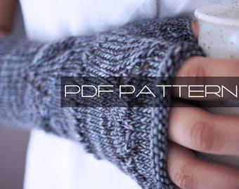 "Knitting Pattern . Fingerless Gloves . ""Embrace"" . Fingerless Mittens . PDF pattern"