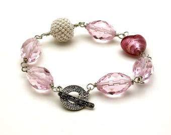 Pink Boho Beaded Bracelet Statement Murano Glass Boutique Bracelet  Wearable Art, For Her Under 180 Free Gift Wrap