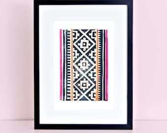 Hmong Linocut Block Print Art Chinese Tibetan Folk Art Pattern 8x10 4x6