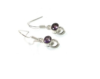Amethyst Earrings  , Sterling Silver Faceted   Amethyst Oval Earrings , Gift For her