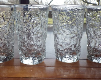 Clear Bumpy Juice glasses Milano by Anchor Hocking Flat bottom 4 5 ounce glasses