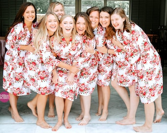 SALE! Bridesmaid Robes, Bridesmaid GIFT, Cotton Floral Robes, Set of 4, 5 ,6, 7, 8, 9, 10, 11, 12, Bridal Party Robes, Getting Ready Robes