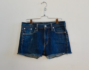 "Levi's Denim Cutoffs - Vtg Style Denim Cutoffs - Blue Jean Cut Offs - Size 29"" - Handmade Cutoff Jeans - Summer Fashion - Denim Shorts"