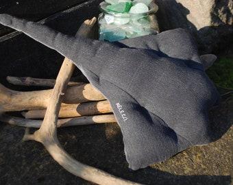Rio the Ray (grey) - Recycled denim dog toy