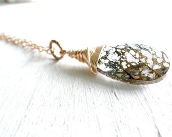 Gold Boho Crystal Pendant Wire Wrapped Swarovski Crystal Drop Necklace Long Gold Pendant Necklace Romantic Gift For Her Crystal Teardrop