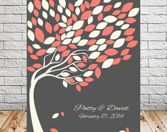 Alternative Wedding Leaf Guest Book Tree Print, Wedding Signature Tree, Guest Book Wedding Tree, Guestbook Alternative, 100 Guests