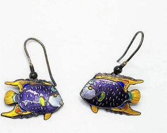30% Off Sale Enamel Fish Vintage Pierced Earrings