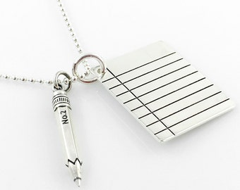 Pencil and Binder Paper Necklace - stationery lover - geekery