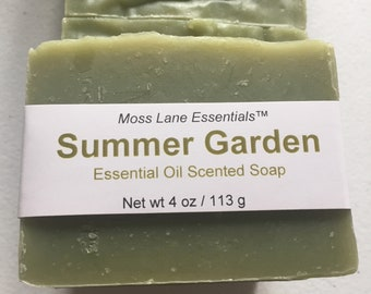 Summer Garden Essential Oil Scented Cold Process Soap with Shea Butter--Clary Sage, Lavender, Clove Bud