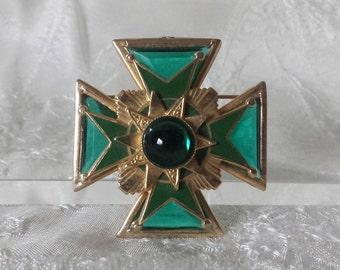 "Vintage Green Glass Enamel Gold Tone Maltese Cross Pin Brooch 1.75"" Costume"