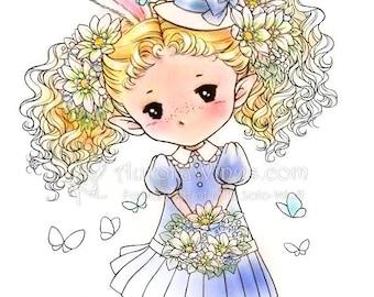 Spring Sprite Digital Stamp - Girl Elf in Easter Dress - Instant Download - Fantasy Line Art for Cards and Crafts - Aurora Wings Sprites