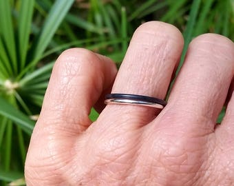 Fine women's or Men's silver ring. Minimalist, simple jewellery. Stacking ring. Engagement, wedding. Unisex.