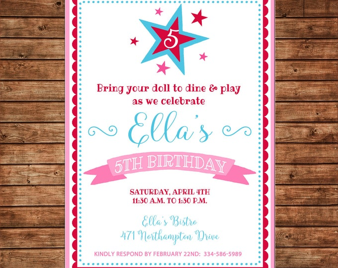 Girl Invitation Doll Bistro Birthday Party - Can personalize colors /wording - Printable File or Printed Cards