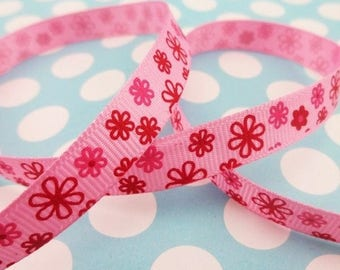 Pink patterns ribbon flowers (x 1 meter)
