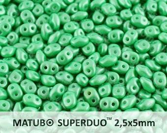 25g (300pcs) Pearl Pastel Light Green Super Duo Czech Glass Seed Beads 5x2.5mm