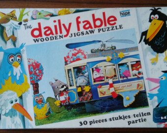Vintage wooden jigsaw puzzle The daily fable Fabeltjeskrant