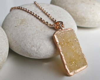Rose Gold Druzy Statement Necklace- Rectangle Raw Natural Druzy Necklace- Beige Druzy Necklace- Large Rough Stone Necklace- Jewelry Gift
