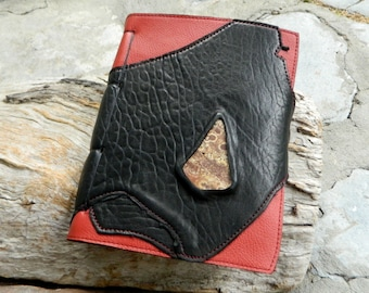 A5 Leather Journal with Australian Fossil Mini Slab Black and Red Recycled Leather Diary Handbound Book