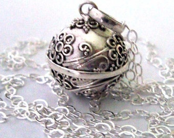 """14mm Flower Angel caller Guardian bell Mexican Bola Sterling Silver  ball Chime Necklace 16- 36"""" chain CN2"""