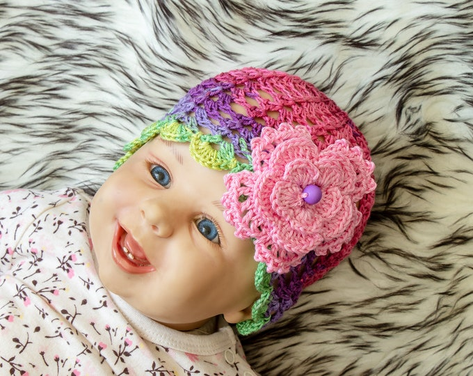 Ready to ship - Baby girl summer hat - Baby girl hat - Baby hat - Crochet Flower hat - Baby girl beanie - Colorful baby hat- Infant girl
