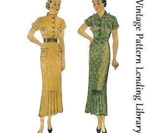 1935 Ladies Day Dress With Kick Pleats - Reproduction Sewing Pattern #T1642