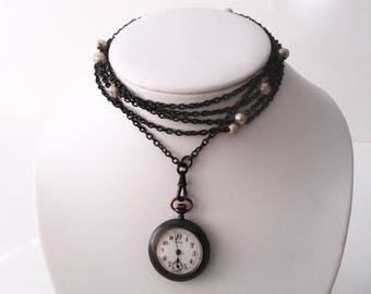 Antique 66-Inch Gunmetal Chain With Antique Gunmetal Watch