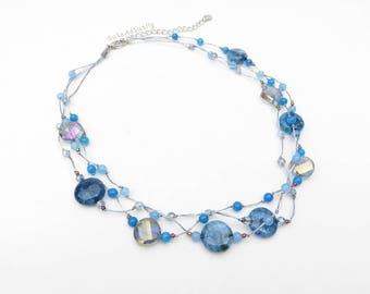 Blue stone necklace with crystal, glass beads on silk thread, 3 strands, short necklace