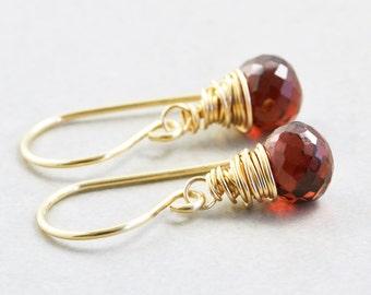 Garnet Dangle Earrings, January Birthstone Jewelry, Garnet Drop Earrings