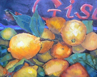 Lemon Painting, Fruit Painting, Impressionist Fruit Painting,  Lemons of Campo Di' Fiori, 8X10 painting, OOAK  painting, Free Shipping in US
