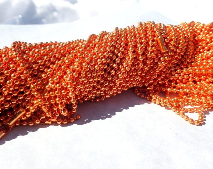 Orange Ball Chain Necklaces - 24 inch - 2.4mm Diameter - Set of 10