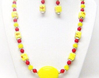 Yellow w/Flowers Ceramic Bead Necklace & Earrings Set