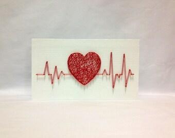 String Art Rhythm Heart Beat Sign Wall Art Decor