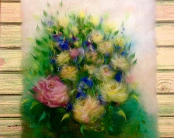 "Wool painting ""Roses and irises"", felted wool decor  3d floral painting, wool paint,  wool wall hanging"