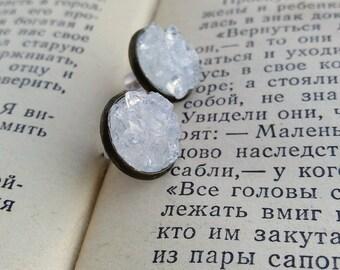 Quartz earrings Clear quartz studs Ice jewelry Stone studs Gemstone studs Stone earrings gift for her Clear quartz studs Gemstone earrings