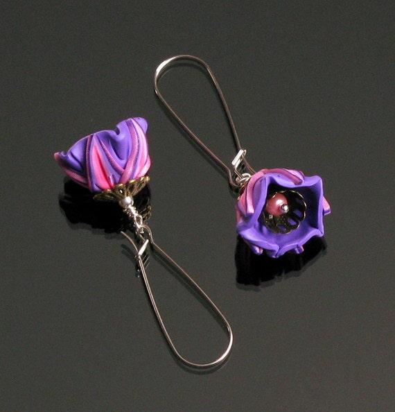 Art Deco Flower Earrings, Pink & Purple Long Silver Earrings, Floral Dangle Unique Earrings, Handmade Jewelry, Unique Gift for Women, Mom