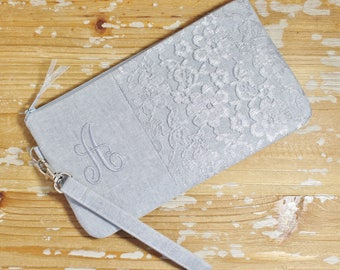 Silver Grey Personalized Linen and Lace Clutch-Wristlet - Bridesmaid Clutch